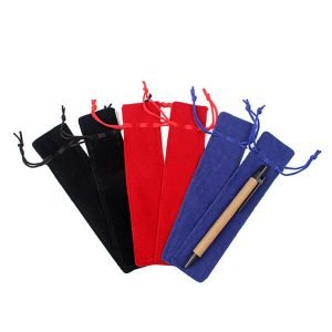 Suede Pencil Pouch With Drawstring Pen Velvet Bags