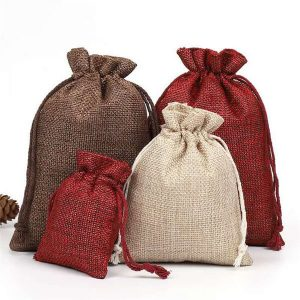 Small Jute Jewellery Pouches With Drawstring