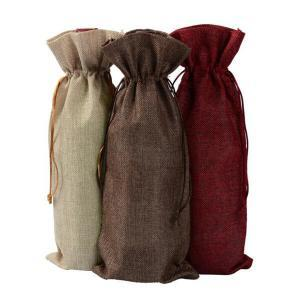 Burlap wine bags hessian look pouches