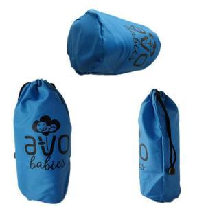 High quality drawstring nylon packaging pouch blue gift nylon bag