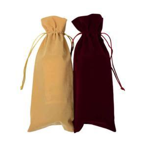 Velvet wine bottle gift bags with drawstring