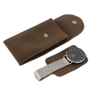 Vinerstar Suede Leather Watch Pouch with Pad