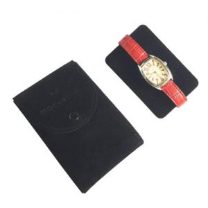 Envelope Black Velvet Watch Gift Pouch With Custom Logo