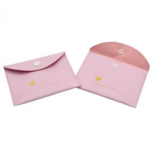 Hot Stamping Logo Pu Leather Envelope Pouch with button closure
