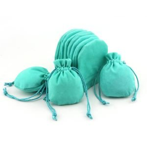 Luxury Velvet Drawstring Pouches Round Bottom