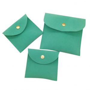 Button Closure Double Suede Envelope Jewelry Pouch