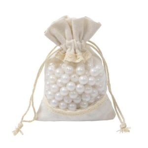 Small Cotton Window Drawstring Bags 10x15cm