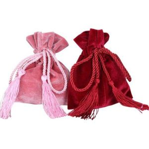 Suede Drawstring Pouches with Tassel