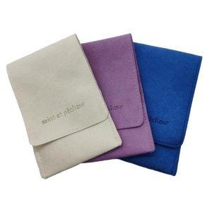 velvet envelope pouch with logo