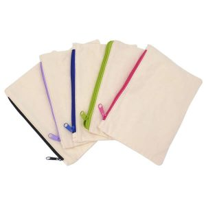 Reusable cotton bags with zipper