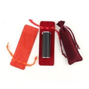 suede lipstick drawstring bag
