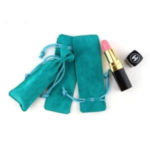 Suede drawstring pouch for lipstick cosmetic